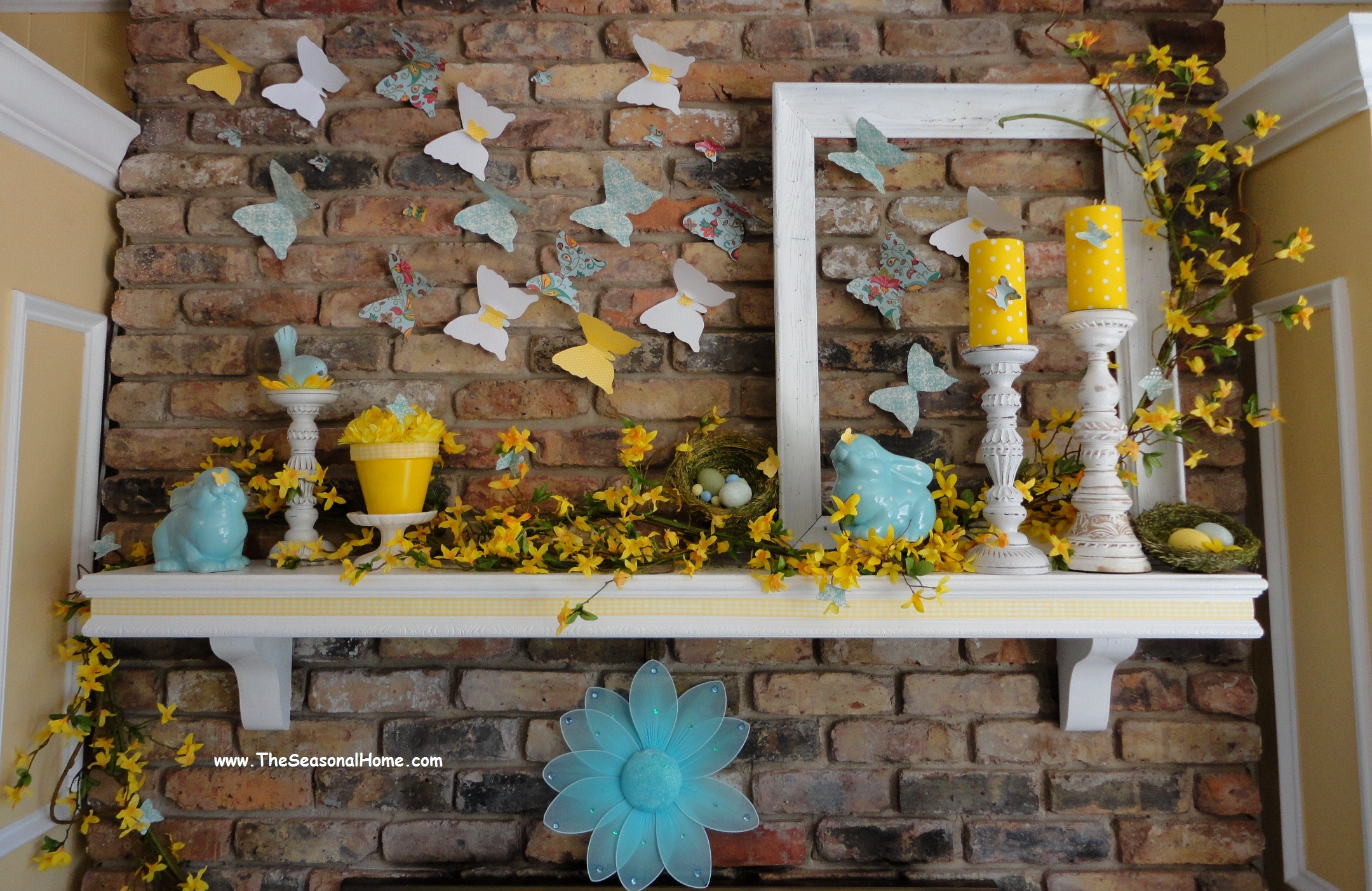 Using paper products to help decorate your fireplace for for Easter home decorations