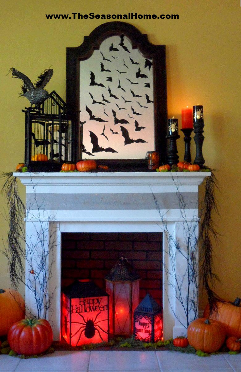 Spooky halloween fireplace the seasonal home - Scary decorations for halloween ...